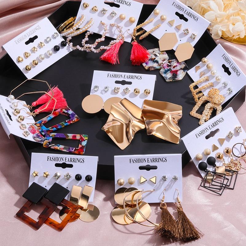 6 Pairs/Set Vintage Acrylic Earring Statement Tassel Earrings Korean Dangle Drop Earrings For Women 2020 Fashion Earings Jewelry