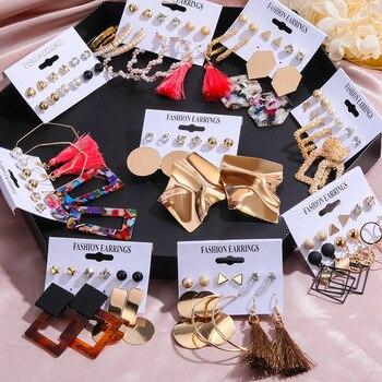 6 Pairs/Set Vintage Acrylic Earring Statement Tassel Earrings Korean Dangle Drop Earrings for Women 2020 Fashion Earings Jewelry 2019 asymmetric tassel chain drop earring new fashion kpop korean safety pin dangle earrings jewelry