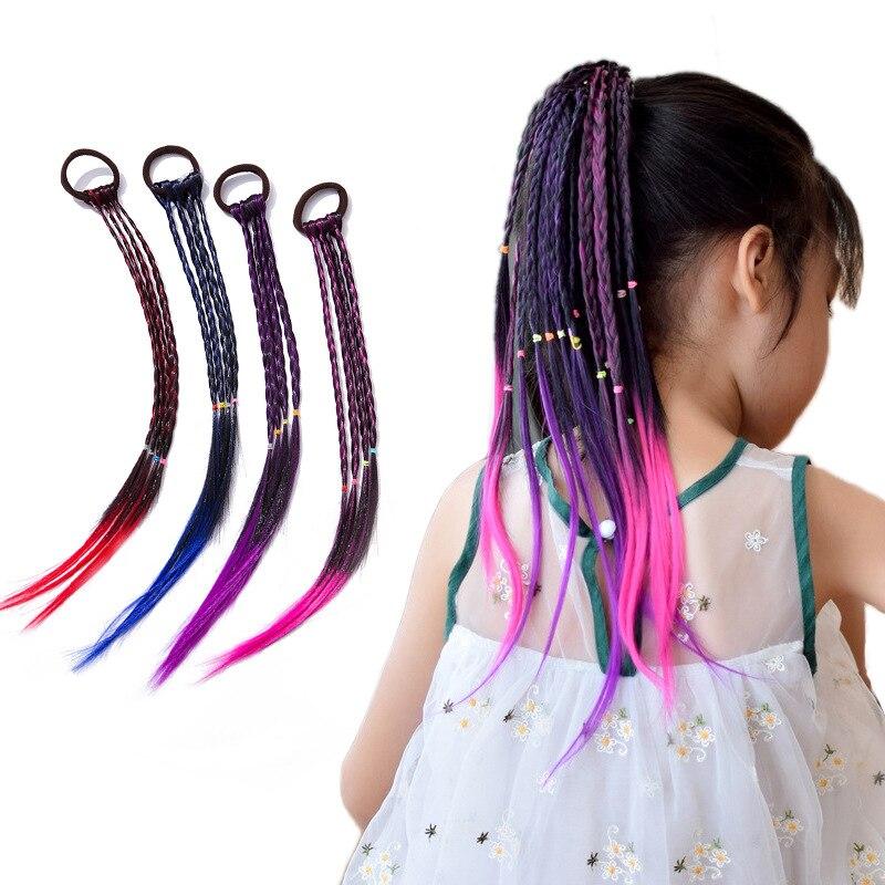 Children's Wig Ponytail Gradient Braid Color Headdress Hair Rope