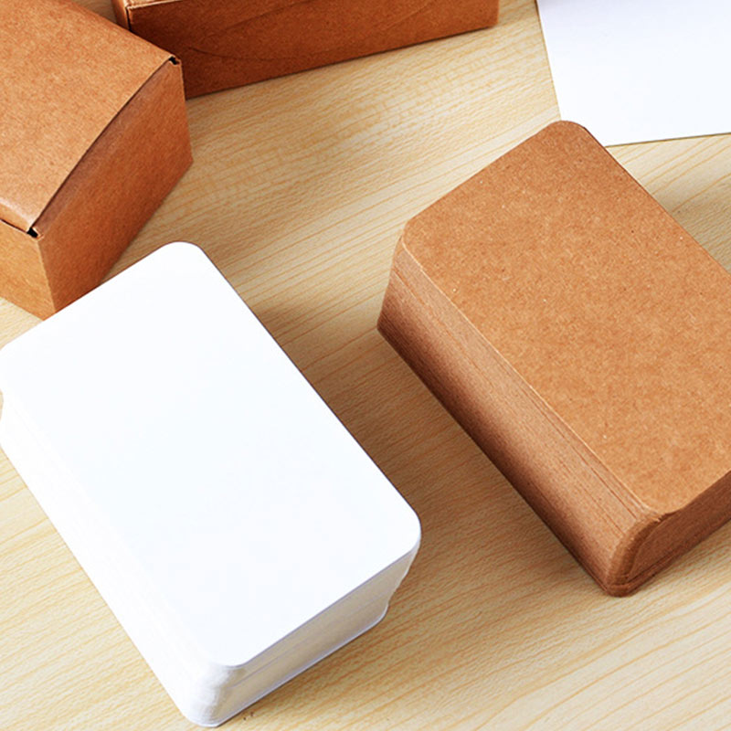 100pcs Vintage Blank Card DIY Greeting Cards Graffiti Word Cards Wedding Party Gift Thick Kraft Paper Postcards DQ-Drop
