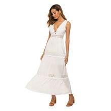 Летнее женское платье с глубоким v образным вырезом привлекательное
