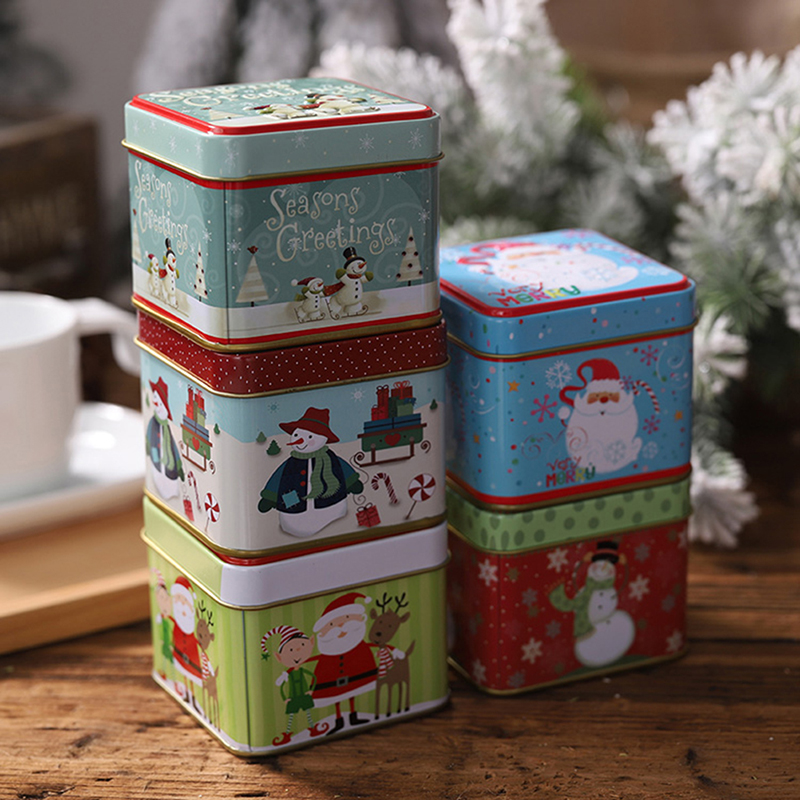 Metal Tin Can Containers Christmas Gift Box and Lid Snowman and Santa box set