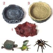 Esteira rolante pet alimentador bacia resina não-tóxico comida água pote réptil tartaruga escorpião lagarto caranguejos animais de estimação suprimentos b99