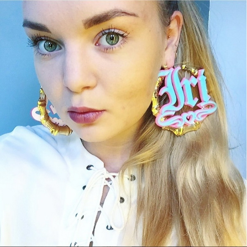 Custom Bamboo Earrings Hoop Acrylic Personalized Name Earrings Personalized Jewelry Fashion Show Charming Earrings Gold Gift