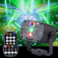 Carga USB RGB LED DJ discoteca de luz láser proyector luces de fiesta luces de Navidad música Control de voz de efecto de iluminación de escenario