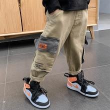 Korean Boys Loose Sport Pants Spring Fall Children Cargo Trousers Cotton Khaki/black Jogger Pant Teenage Costume with Big Pocket