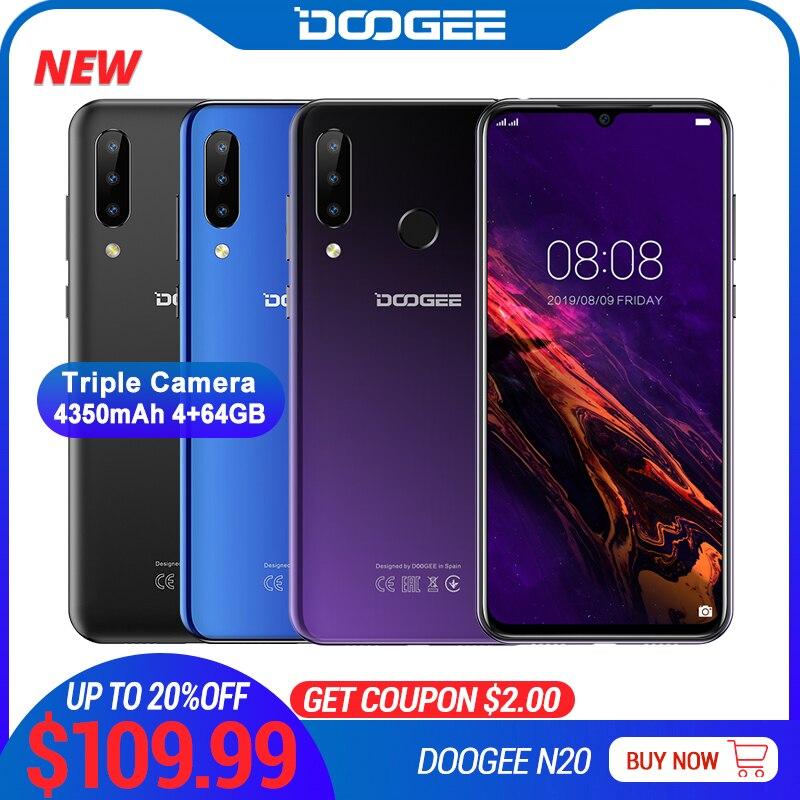 DOOGEE N20 téléphone portable empreinte digitale 6.3 pouces FHD + affichage 16MP Triple caméra arrière 64GB 4GB MT6763 Octa Core 4350mAh téléphone portable LTE