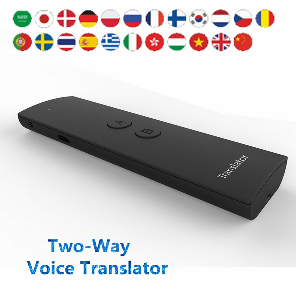 Portable Smart Voice Translator Two-Way Real Time 28 Multi-Language Translation Speech For Learning Travelling Business Meeting image