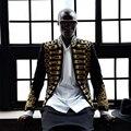 Homem elegante blazer preto ouro bordado jaqueta casaco boate cantor masculino anfitrião traje estilo europeu c estúdio palco usa