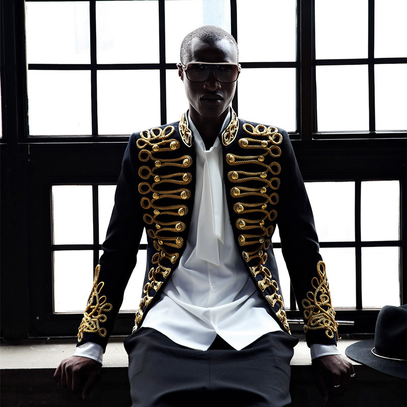 Men Stylish Blazer Black Gold Embroidery Jacket Coat Nightclub Male Singer Host Costume European Style C Studio Stage Wears