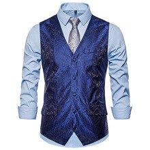 Мужской жилет мужской модный однобортный Тонкий жилет с принтом элегантный жилетный костюм для мальчика Модный свадебный Банкетный жилет