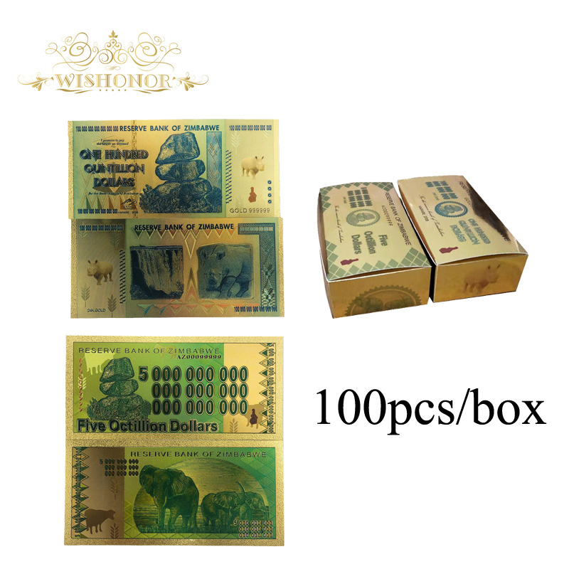 100 pcs/box Simbabwe Banknoten Hundert Trillionen Dollar Gold Gefälschte Banknoten 1pc Drop Shipping-in Gold-Banknoten aus Heim und Garten bei  Gruppe 1