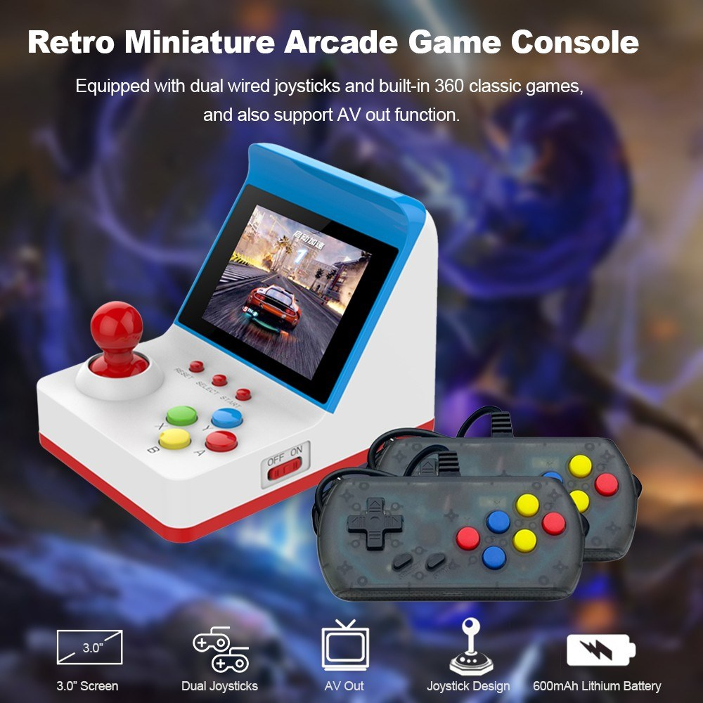 Retro Miniature Arcade Game Console Wired Gamepads Built-in 360 High Tech Games For Kids Children Adults