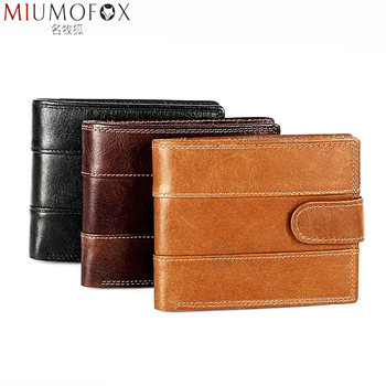 2020 New Wallet with Buckle for Men Genuine Leather Men Wallets Vintage Hasp Design Coin Pocket Rfid Card Holder Male Portomonee vintage rfid wallets 100% genuine leather men short wallet for cards male coin purse card holder pocket double zipper design