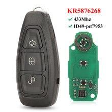 Jingyuqin полный Smart 3 кнопки дистанционного ключа fob 433 МГц ID49-pcf7953 чип для Ford Grand C-Max Focus Ford Kuga Fiesta 2016 + KR5876268
