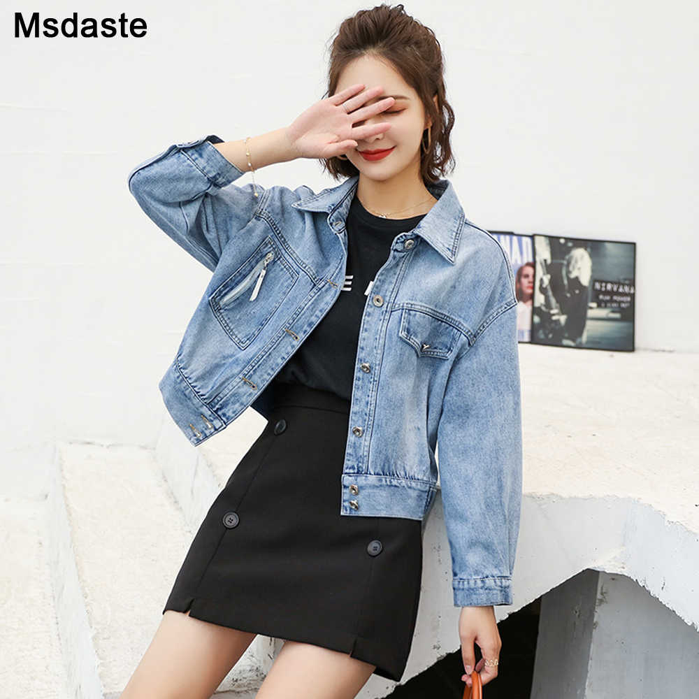 Vrouwen Jeans Jassen Denim Jas Korte Jean Jas Meisje Koreaanse Stijl Loose-Fit 2020 Lente Herfst Cool College stijl Tops Jassen