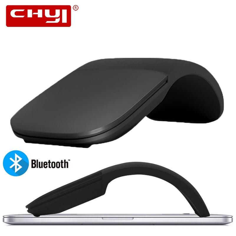 Ratón CHYI silencioso Bluetooth 4,0 inalámbrico arco táctil ratón Ultra fino láser Juegos de ordenador plegable Mause para Microsoft PC