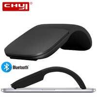 Ratón inalámbrico CHYI Silent Bluetooth 4,0, ratón con arco táctil, ratón con láser Ultra delgado, Juegos de ordenador plegable para Microsoft PC
