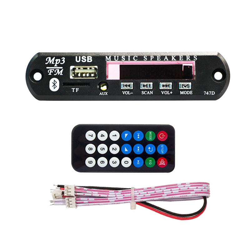 MP3 Wireless Bluetooth 5V 12V WMA Decoder Board Car Audio Module With Screen Remote Controller AUX TF FM Stereo Music  Player