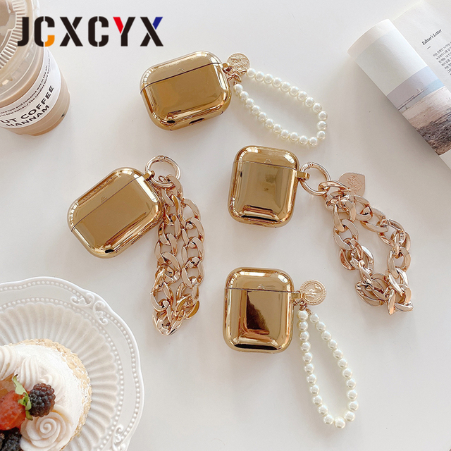 Gold plating pearl coin bracelet keychain chain Wireless Headset bluetooth soft case for Apple AirPods 1 2 cover for airpods pro