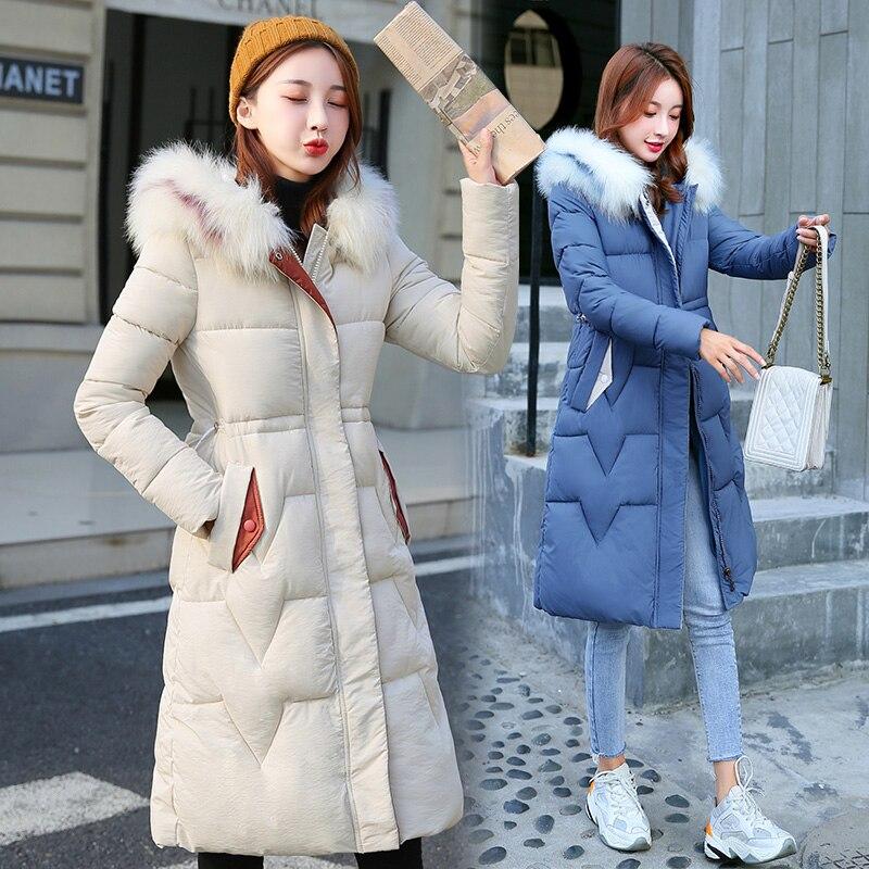 Grande taille solide Simple Style Long populaire manteau Parka veste vêtements d'hiver chauds décontracté Casaco pardessus mode femmes