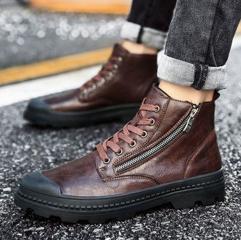 Men's Retro Zipper Lace Up Ankle Boots Youth Casual High Top Leisure Shoes punk C20