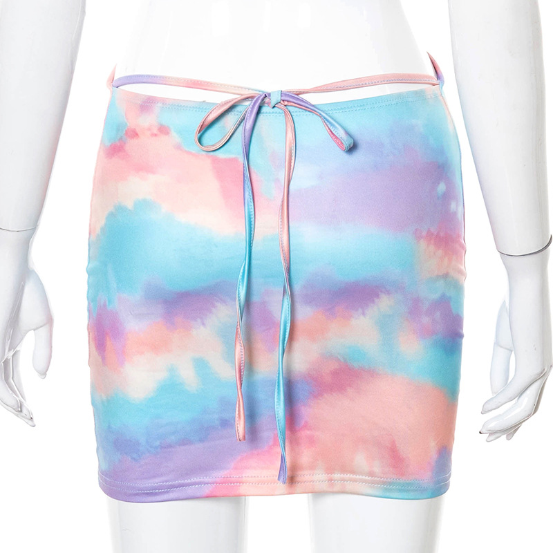 New Europe and the United States women's fashionable dye printing high waist low-cut dress sexy condole female
