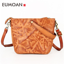 EUMOAN 2018 simple retro leather handbags first layer leather ladies messenger bag vegetable tanned leather handbag hand made new vintage genuine leather handbag women burgundy red handbags messenger bags lady vegetable tanned leather solid bag