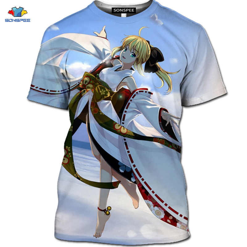 Sonspee 3d verão de manga curta beleza cavaleiro camiseta anime destino/estadia noite camiseta diversão dos desenhos animados camisa masculina kawaii loli topos