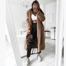 SHUJIN осень зима женское длинное пальто простой отложной воротник шерстяное пальто плюс толстый теплый Твид Верхняя одежда Casacos Femininos