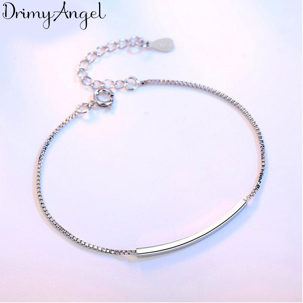 Simple Fashion <font><b>Silver</b></font> Color <font><b>Bracelets</b></font> <font><b>Tube</b></font> Box Chain <font><b>Bracelets</b></font> & Bangles For Women pulseira image