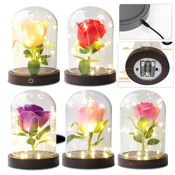 LED Flash Light Beauty Artificial Red Rose With LED Light In Glass Dome For Wedding Party Mother's Day Birthday Decor Gift D30 red rose with fallen petals in a glass dome on a wooden base birthday gift beauty