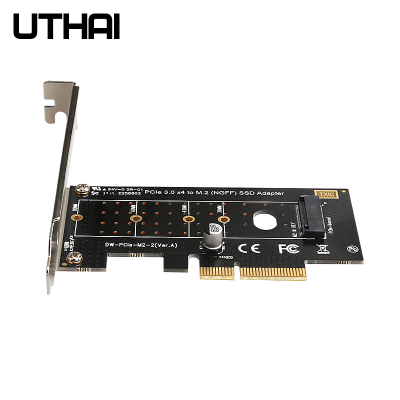 UTHAI T16 <font><b>M.2</b></font> NVME to PCI-E <font><b>Adapter</b></font> <font><b>M.2</b></font> NVMe SSD To <font><b>PCIE</b></font> 3.0 X16 X8 <font><b>X4</b></font> Riser card For M Key interface SSD Expansion Cards image