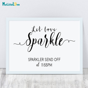 Let Love Sparkle Sparkler Send Off at Customized Time Wedding Reception Party Sign Mirrors Removable Vinyl Stickers BA192(China)
