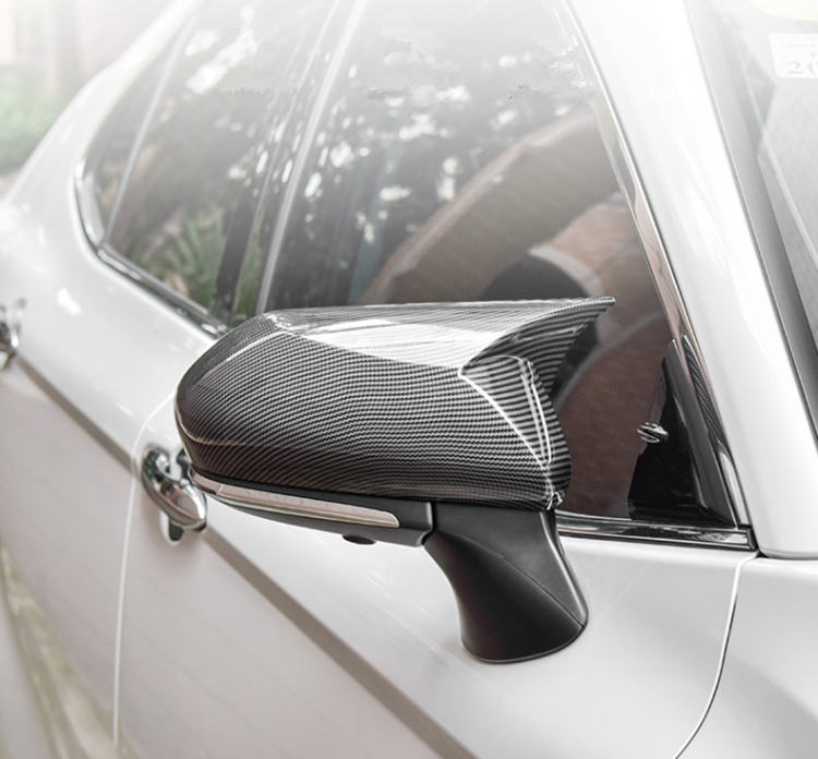 lowest price A Pair Horn Style Carbon Fiber Style Rear View Side Mirror Cover Caps Fit For Toyota Camry 2018  Avalon 2019 C-HR 2016-2018