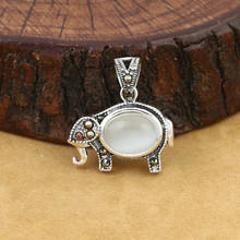 925 Sterling Silver Jewelry Retro Thai Women Models Popular Inlaid Marcasite Opal Elephant Pendant
