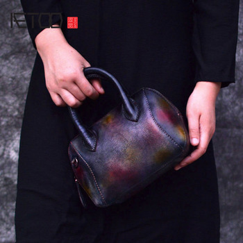 AETOO Brand genuine leather women handbag colorful pattern flap bag female shoulder bag small ladies messenger bag