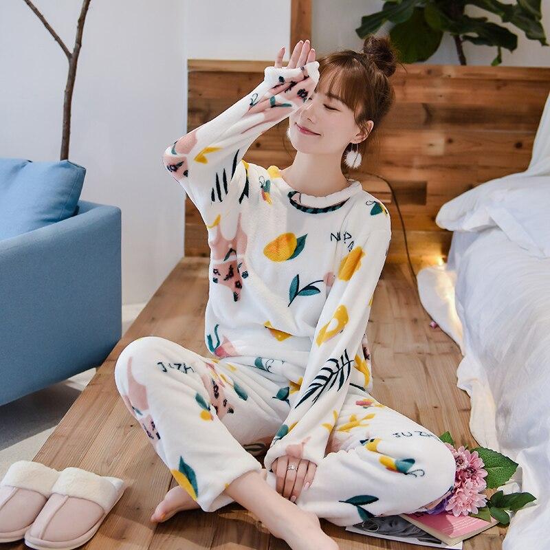 Women Pyjamas   Sets   Autumn Winter   pajamas   Sleepwear Suit Thick Warm Pyjamas Women nightgown Female   pajama     set