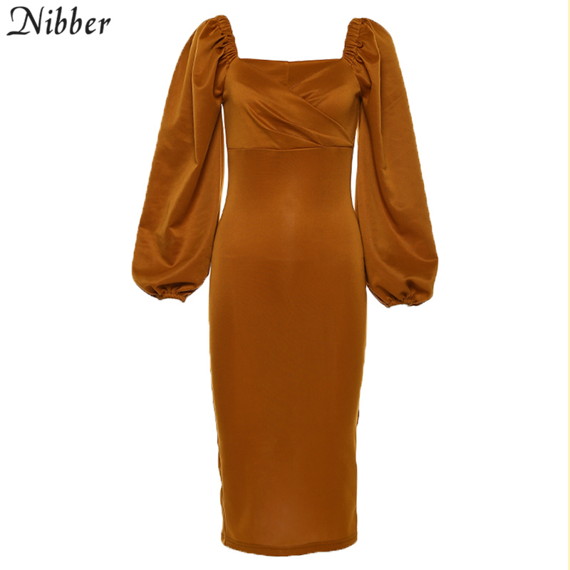 Nibber sexy pure V Neck off shoulder bodycon dress women autumn winter club party night red