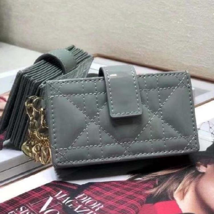 5 Card Holder Gray Patent Cow Leather Rattan Check Pattern Summer Mini Passport&ID Womens Clutch Bag Female Handbag Purse Wallet