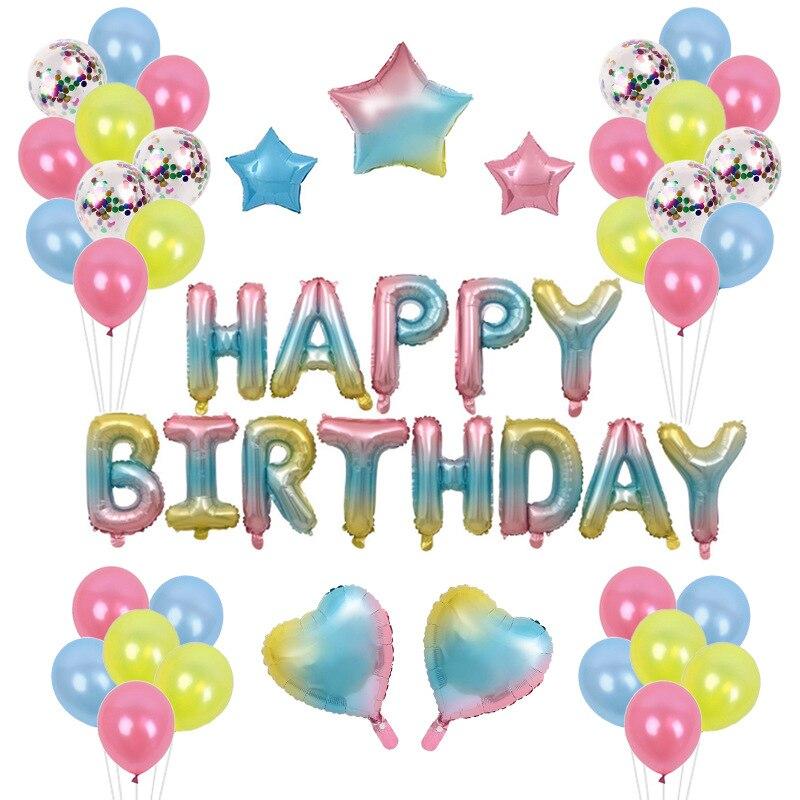 Dégradé ballons joyeux anniversaire ballons arc-en-ciel anniversaire bannière lettres colorées feuille ballons décorations de fête d'anniversaire