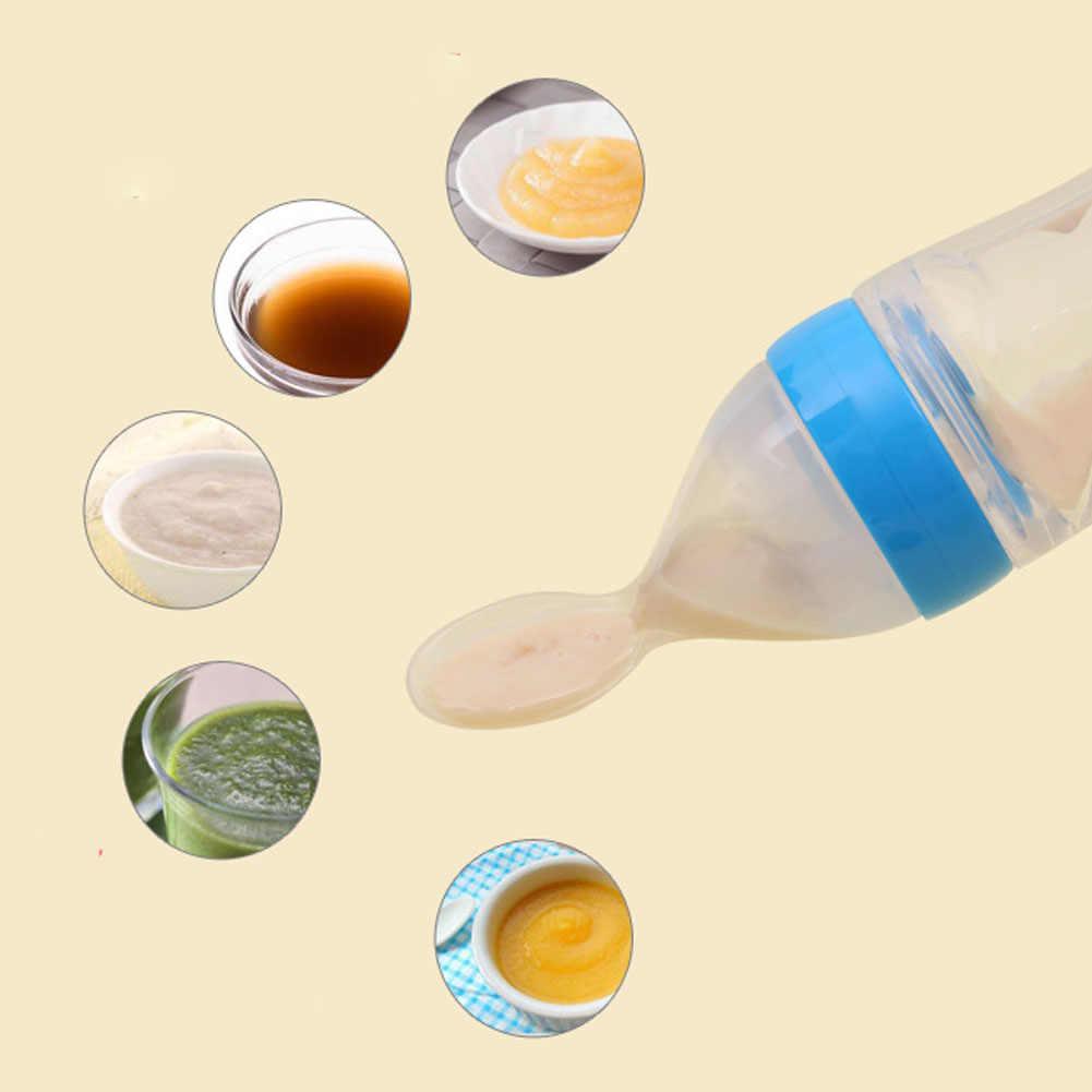 Fuente de alimentación de silicona para bebé de 90ML con cuchara alimentadora botella de Cereal de arroz para el mejor regalo