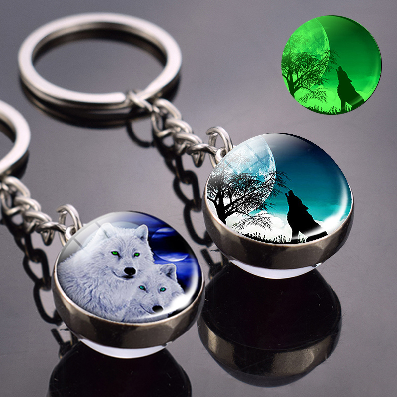 Glow In The Dark Wolf Key Chain Howling Wolf And Moon Keyring Double Side Glass Ball Keychain Wolf Head Pendant Key Ring