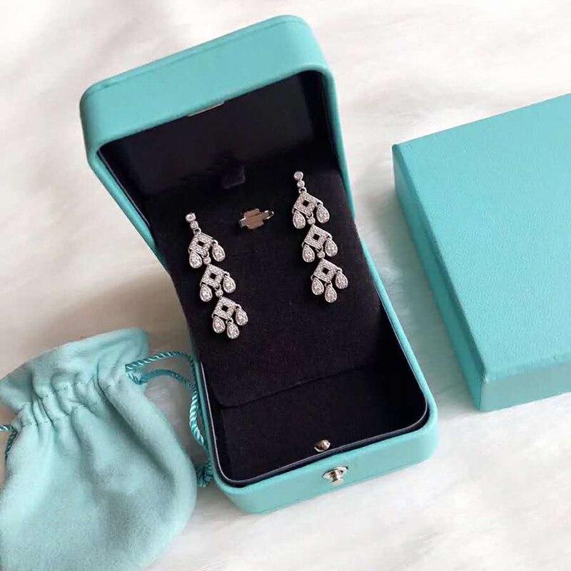 Boucles d'oreilles en argent Sterling 925 en forme de tour à trois étages design zircon accessoires populaires marques de luxe bijoux cadeaux pour femmes