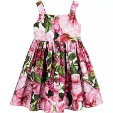 BORUMEX New childrens dress European and American style girls rose flower print strap princess summer