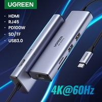 UGREEN HUB USB C 4K 60Hz tipo C a HDMI 2,0 RJ45 USB 3,0 PD 100W adaptador para Macbook Air Pro iPad Pro M1 accesorios para PC USB HUB