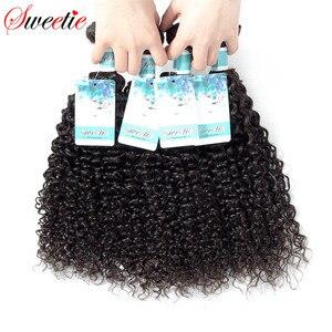 Image 3 - Sweetie Indian Hair Afro Kinky Krullend Hair Extensions 100% Menselijk Haar Weave Bundels Natuurlijke Kleur 3/4 Stuks 100G Non  Remy