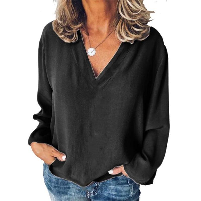 Женские осенние блузки, элегантная однотонная блузка с рукавом, рубашка с v-образным вырезом, офисные рубашки, Blusas Camisa