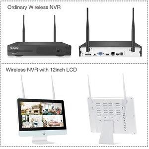 Image 2 - Techege tak ve çalıştır 8CH kablosuz NVR kiti 12 inç LCD NVR 1080P HD Vandalproof güvenlik IP kamera gece görüş WIFI CCTV sistemi