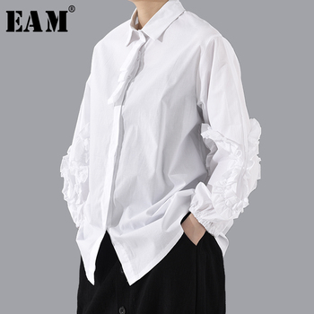[EAM] Women White Ruffles Split Big Size Blouse New Lapel Long Sleeve Loose Fit Shirt Fashion Tide Spring Autumn 2020 1T805